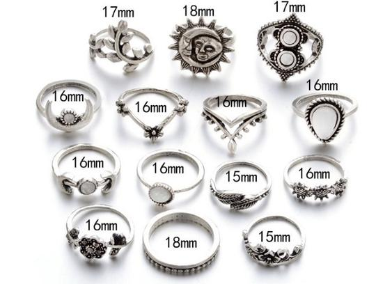 Unique Jewels vintage boho floral moon sun tribal 14pc wedding bridal engagement opal fashion gypsy silver jewelry ring set Image 2