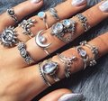 Unique Jewels vintage boho floral moon sun tribal 14pc wedding bridal engagement opal fashion gypsy silver jewelry ring set Image 3