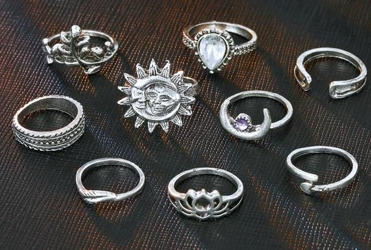 Unique Jewels vintage boho floral moon sun tribal 14pc wedding bridal engagement opal fashion gypsy silver jewelry ring set Image 5