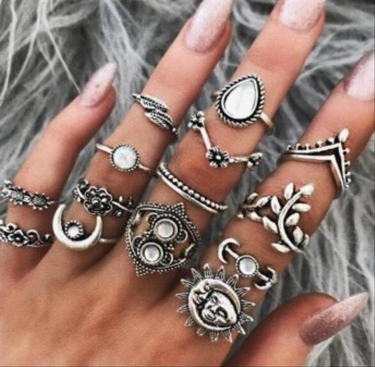 Unique Jewels vintage boho floral moon sun tribal 14pc wedding bridal engagement opal fashion gypsy silver jewelry ring set Image 6