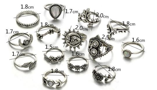 Unique Jewels vintage boho floral moon sun tribal 14pc wedding bridal engagement opal fashion gypsy silver jewelry ring set Image 7