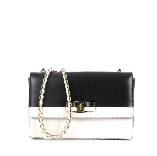 Preload https://img-static.tradesy.com/item/25537073/salvatore-ferragamo-ginny-crossbody-medium-black-and-white-saffiano-leather-satchel-0-0-540-540.jpg