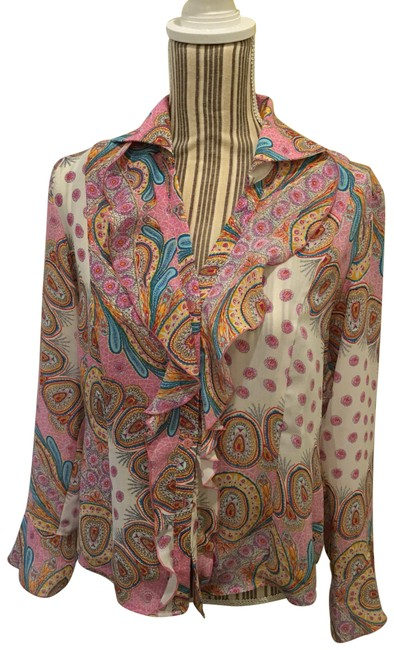 Item - Multicolor Flowing Button-down Top Size 10 (M)