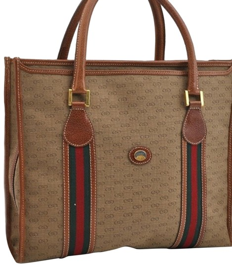 Preload https://img-static.tradesy.com/item/25537186/gucci-limited-anniversary-edition-sherry-line-gg-vintage-brown-leather-canvas-tote-0-14-540-540.jpg