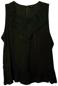a.n.a. a new approach Sleeveless Sleeveless Ruffle Embroidered Top Green