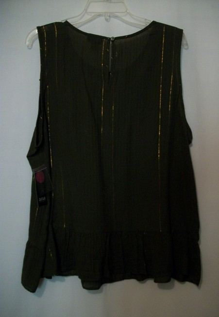 a.n.a. a new approach Sleeveless Sleeveless Ruffle Embroidered Top Green Image 1