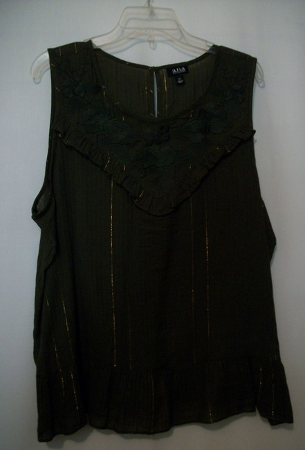 a.n.a. a new approach Sleeveless Sleeveless Ruffle Embroidered Top Green Image 7