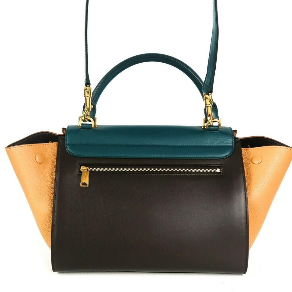 how to get choose genuine street price Céline Shoulder Bag Trapeze New: Small Tan Tri-color Beige - Black - Teal  Leather Tote 55% off retail