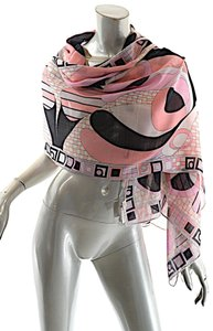 Emilio Pucci EMILIO PUCCI Pinks Grays Wool Blend Signature Geometric Pattern Scarf