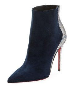 Christian Louboutin Stiletto Two Tone Marine Navy Blue/Silver Boots