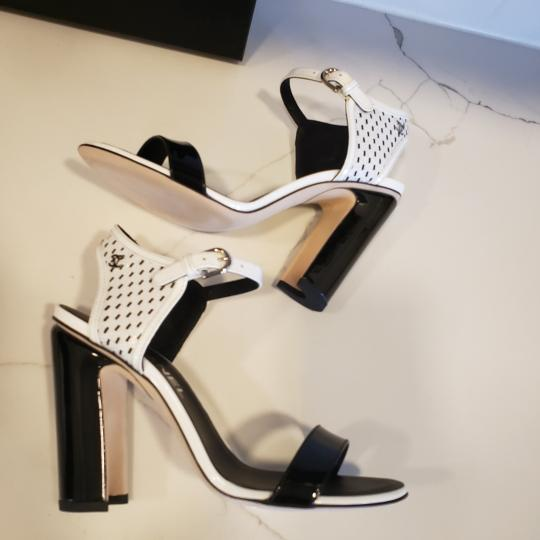 Chanel Bootie Perforated Open Toe Lace Up Black/White Sandals Image 2