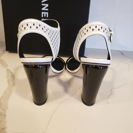Chanel Bootie Perforated Open Toe Lace Up Black/White Sandals Image 3