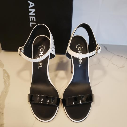 Chanel Bootie Perforated Open Toe Lace Up Black/White Sandals Image 4