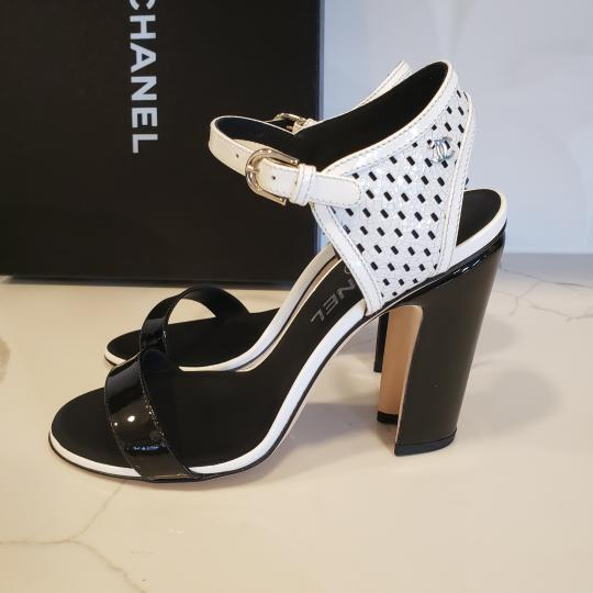 Chanel Bootie Perforated Open Toe Lace Up Black/White Sandals Image 7