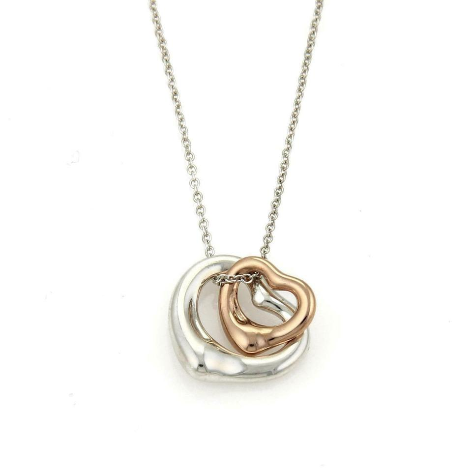 f1d16f820 Tiffany & Co. Peretti Sterling 18k Rose Gold Double Open Heart Pendant  Chain Image 0 ...