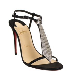 Christian Louboutin Open Toe Peep Toe Crystal Ankle Strap Satin Black Pumps