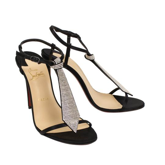 Christian Louboutin Open Toe Peep Toe Crystal Ankle Strap Satin Black Pumps Image 1