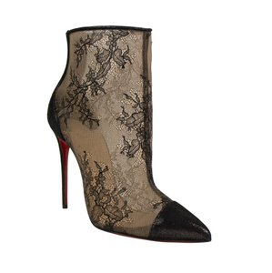 Christian Louboutin Lace Pointed Toe Stiletto Sheer Black Boots