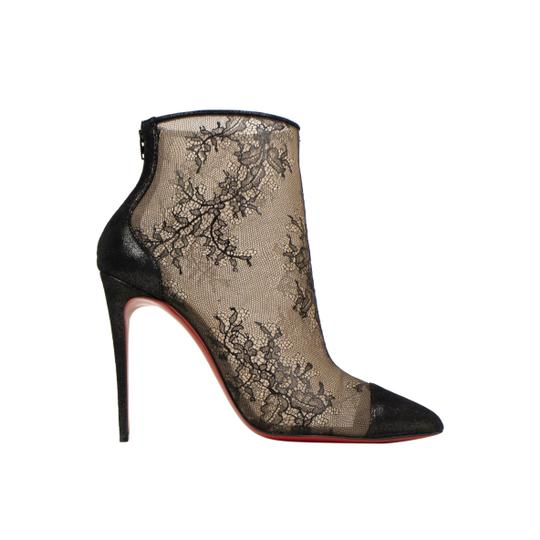 Christian Louboutin Lace Pointed Toe Stiletto Sheer Black Boots Image 2