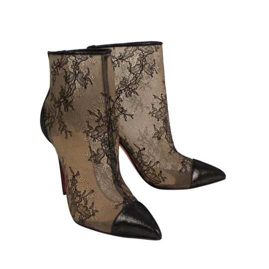 Christian Louboutin Lace Pointed Toe Stiletto Sheer Black Boots Image 1