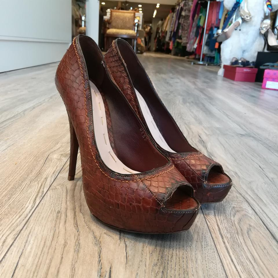 c5dfb1ff95 Miu Miu Brown Python Peeptoe Pumps Platforms Size EU 39 (Approx. US ...