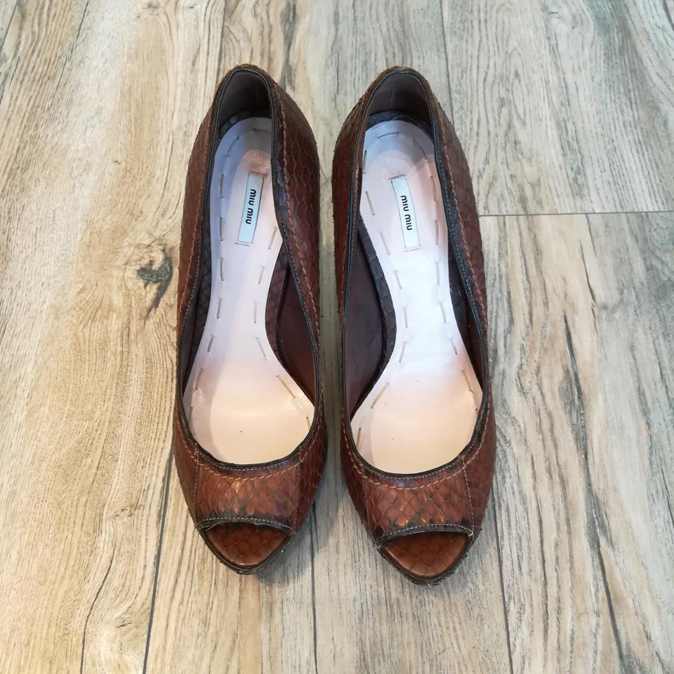 de64e65f21 Miu Miu Brown Python Peeptoe Pumps Platforms Size EU 39 (Approx. US 9)  Regular (M, B) - Tradesy