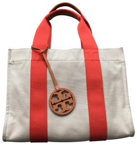 Tory Burch Miller Canvas Dual Handles Vachetta Tote in Natural/Poppy