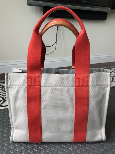 Tory Burch Miller Canvas Dual Handles Vachetta Tote in Natural/Poppy Image 1