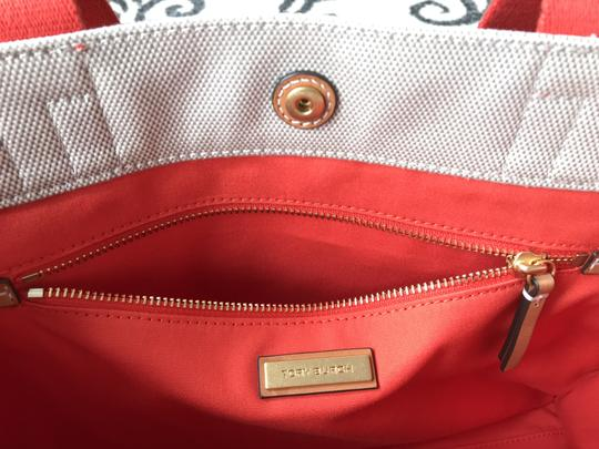 Tory Burch Miller Canvas Dual Handles Vachetta Tote in Natural/Poppy Image 3