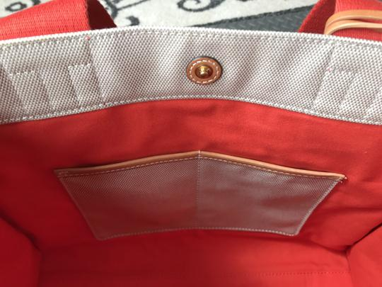 Tory Burch Miller Canvas Dual Handles Vachetta Tote in Natural/Poppy Image 4