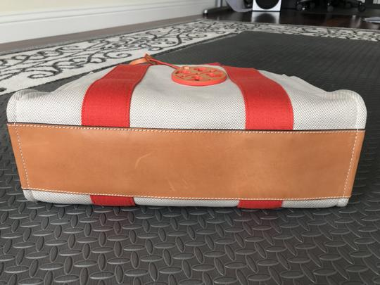 Tory Burch Miller Canvas Dual Handles Vachetta Tote in Natural/Poppy Image 5