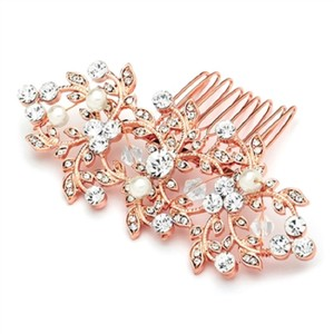 Rose Gold Crystals Pearls Hair Accessory