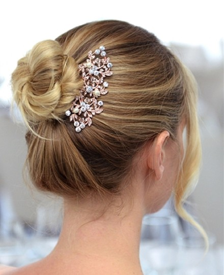 Rose Gold Crystals Pearls Hair Accessory Image 1