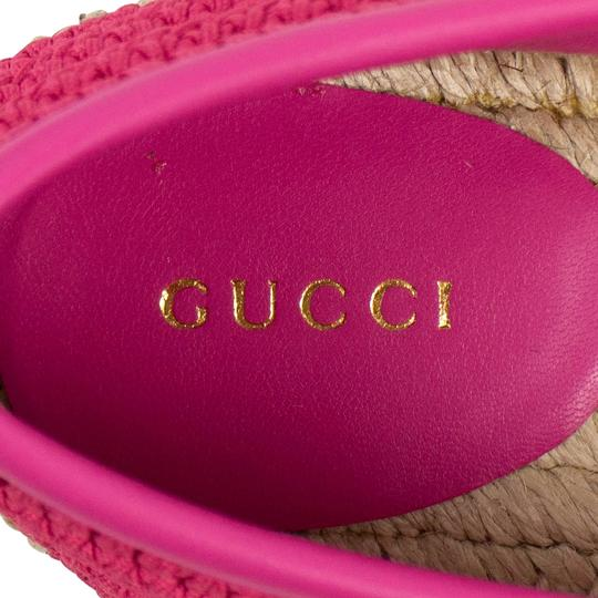 Gucci Logo Espadrille Pearl Woven Leather Pink Flats Image 7