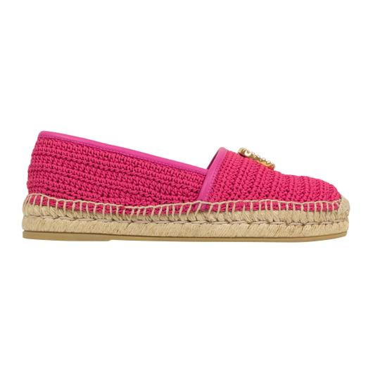 Gucci Logo Espadrille Pearl Woven Leather Pink Flats Image 2