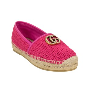 Gucci Logo Espadrille Pearl Woven Leather Pink Flats