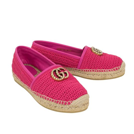 Gucci Logo Espadrille Pearl Woven Leather Pink Flats Image 1
