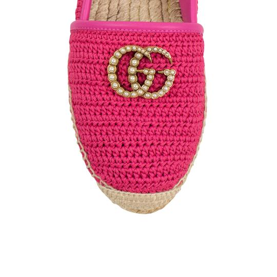 Gucci Logo Espadrille Pearl Woven Leather Pink Flats Image 4