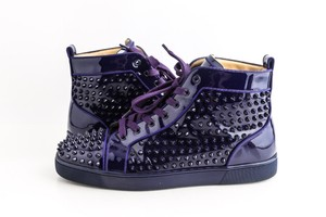 Christian Louboutin Purple Louis Flat Glossy Patent Spikes Sneakers Shoes