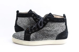 Christian Louboutin Black Louis Strass High Top Sneakers Shoes