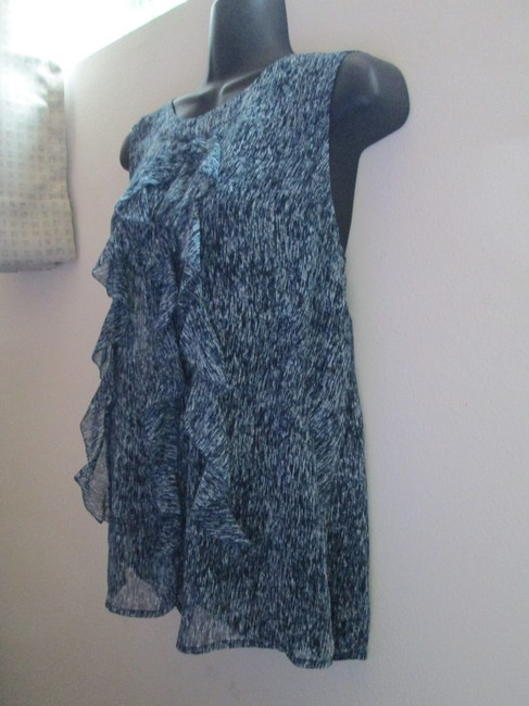 Ann Taylor Ruffled Teal Sheer Spring Summer Top Multicolored Image 2