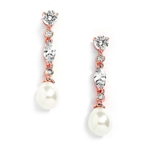 Rose Gold Crystals Pearl Drop Event Earrings Image 2