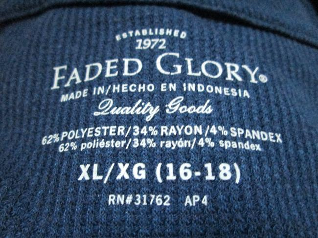 Faded Glory Thermal Fall Winter Warm Casual Top Blue Image 3