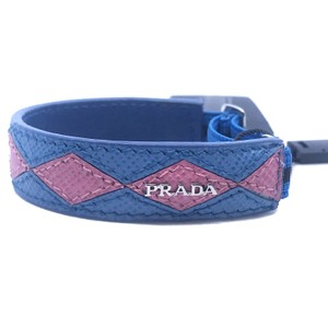 Prada Prada Womens Pink Blue Diamond Pattern Leather Elastic Bracelet 1IB136