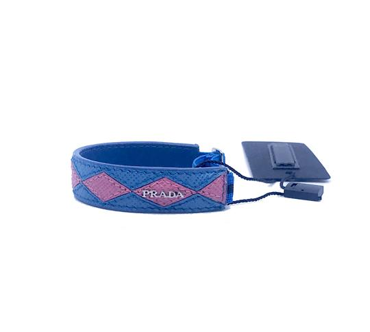 Prada Prada Womens Pink Blue Diamond Pattern Leather Elastic Bracelet 1IB136 Image 1