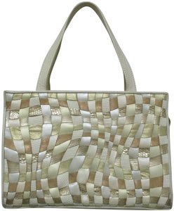 Sharif Vintage Woven Leather Purse Tote in ivory, gold, bronze
