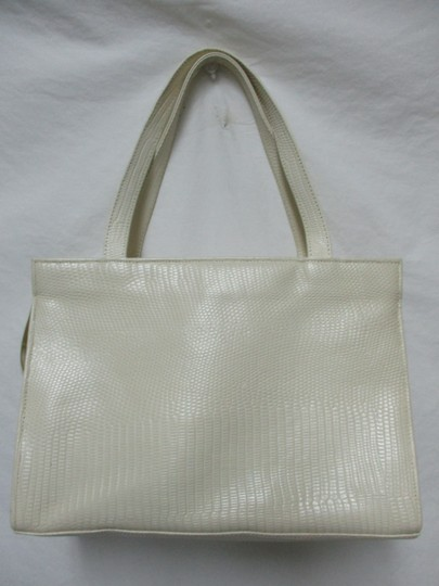 Sharif Vintage Woven Leather Purse Tote in ivory, gold, bronze Image 5