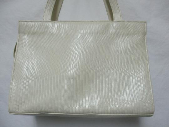 Sharif Vintage Woven Leather Purse Tote in ivory, gold, bronze Image 6