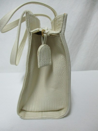 Sharif Vintage Woven Leather Purse Tote in ivory, gold, bronze Image 7