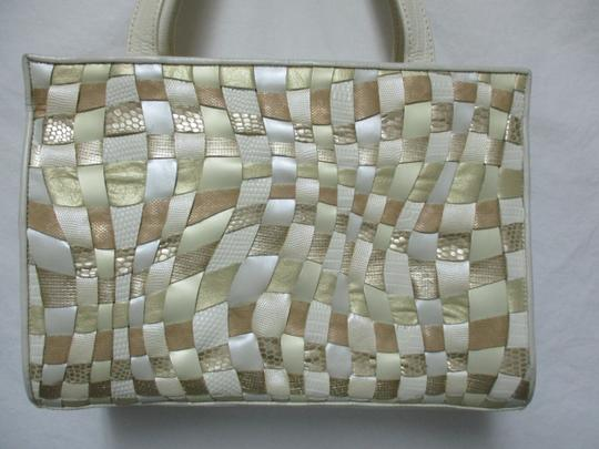 Sharif Vintage Woven Leather Purse Tote in ivory, gold, bronze Image 8